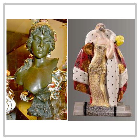 Buste en terre cuite, veilleuse en porcelaine art décoratif