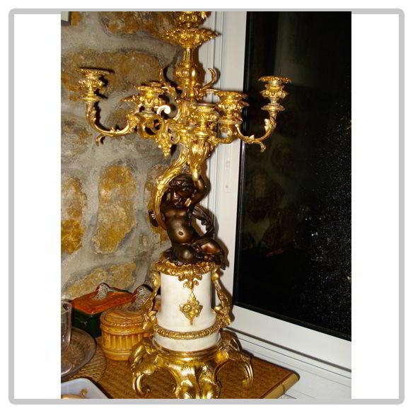 Candélabre en bronze et marbre