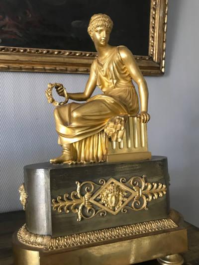 Chenêt de cheminée en bronze doré