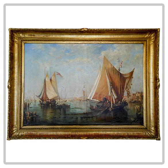 Huile-sur-toile-époque-19e-siècle-«-vue-de-Venise-»
