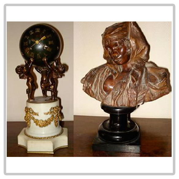 Pendule bronze et marbre et statue en terre cuite orientaliste