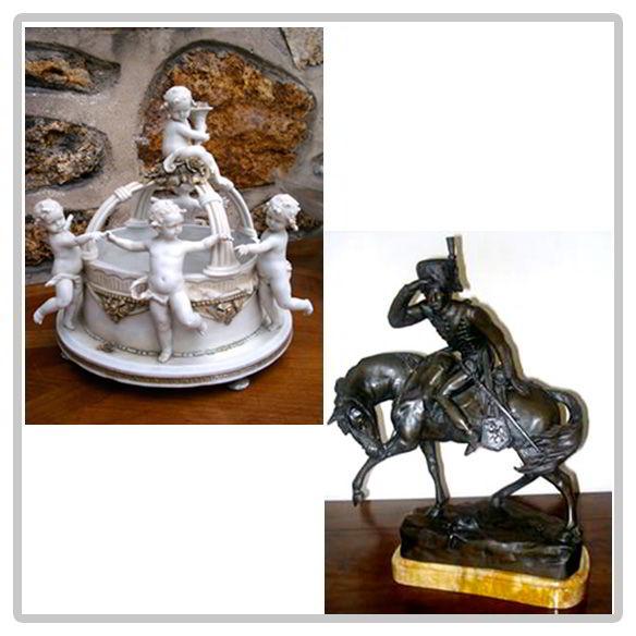 Sculpture, chérubins en Biscuit et hussard en bronze