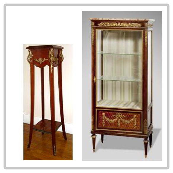 Sellette-en-acajou-et-vitrine-de-style-Louis-XVI